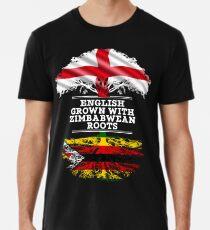 Englisch angebaut mit simbabwischen Wurzeln Geschenk für Simbabwe von Simbabwe - Simbabwe Flagge in Wurzeln Männer Premium T-Shirts