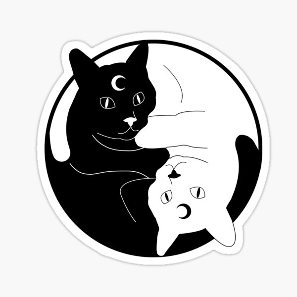 Witchy black white Yin Yang cats Sticker