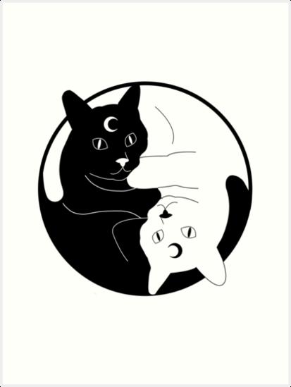 \u0027Witchy black white Yin Yang cats\u0027 Art Print by Lofly