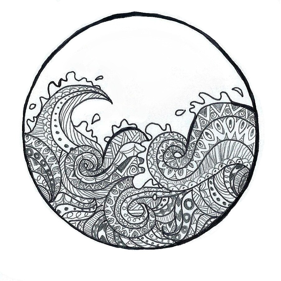 Quot Zentangle Wave Quot By Catherine Dolan Redbubble