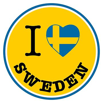 I Love Sweden, Sverige, yellow circle, Sweden sticker by Alma-Studio