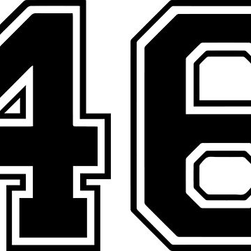 Varsity Black Number 46 Single | Black and white forty six number by igorsin