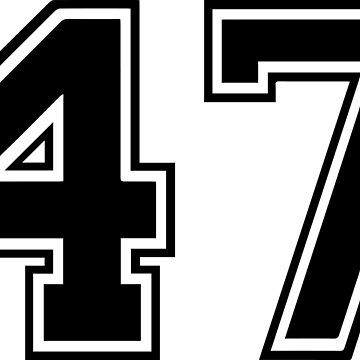 Varsity Black Number 47 Single | Black and white forty seven number by igorsin