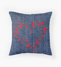 Bleu jeans with heart Throw Pillow