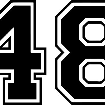 Varsity Black Number 48 Single | Black and white forty eight number by igorsin