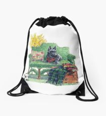 Scottie in the Garden Drawstring Bag