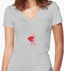 Chewy love heart  Women's Fitted V-Neck T-Shirt