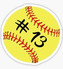 Softball Player Back No Number 13 #13 Ball Sport Sticker Gift Sticker