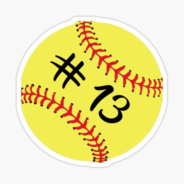 Jugador de Softbol Atrás No Número 13 # 13 Pelota Deporte Etiqueta Regalo Pegatina
