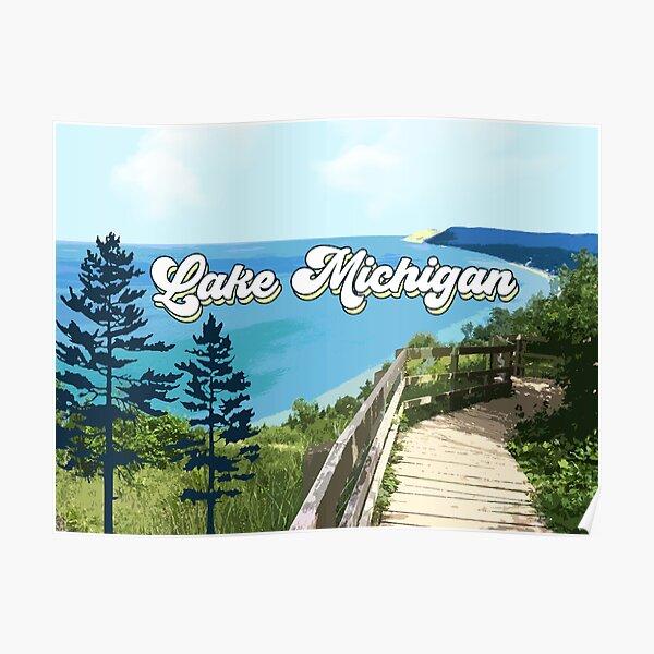 Lake Michigan Retro Poster