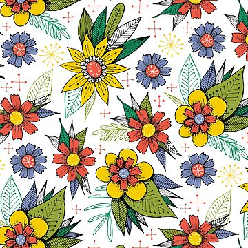 funky bright floral pattern by swoldham