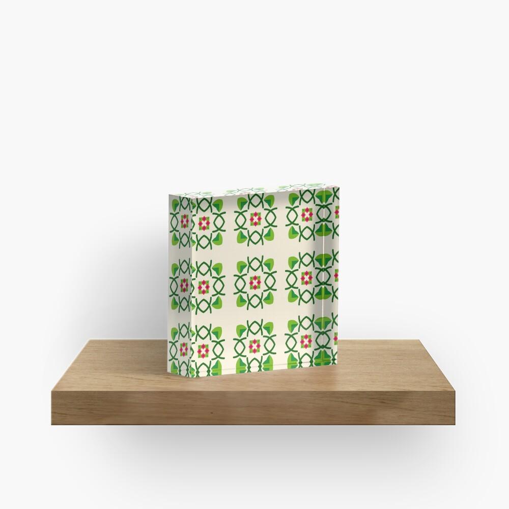 Naturfriedensliebe Romance romantico Blumengrünes nahtloses buntes Wiederholungsmuster Acrylblock