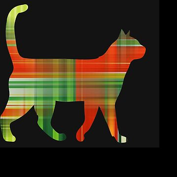 Plaid Green And Red Cat by KaylinArt