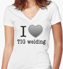 I love Tig Welding Women's Fitted V-Neck T-Shirt