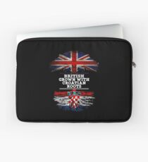 British Grown With Croatian Roots Gift For Croatian From Croatia - Croatia Flag in Roots Laptop Sleeve