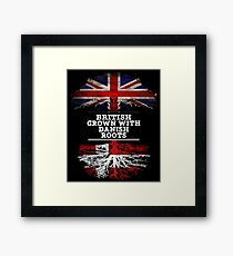 British Grown With Danish Roots Gift For Danish From Denmark - Denmark Flag in Roots Framed Print
