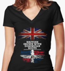 British Grown With Dominican Republic Roots Gift For Dominican From Dominican Republic - Dominican Republic Flag in Roots Women's Fitted V-Neck T-Shirt
