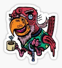 Senior Bird by The Bird Artist [Lowbrow Cartoon Bird / Street Art - Elderly Life: Old Man Parrot] Sticker