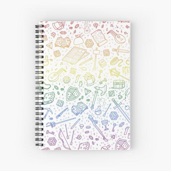 Tabletop RPG Pattern – Rainbow Spiral Notebook