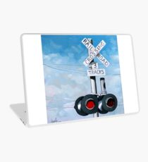 Railroad Crossing - original realistic urban oil painting Laptop Skin