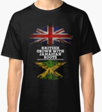 British Grown With Jamaican Roots Gift For Jamaican From Jamaica - Jamaica Flag in Roots Classic T-Shirt