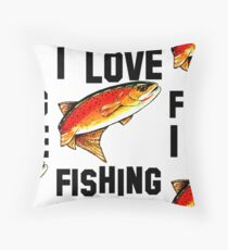 I Love Fishing Yellowstone Cutthroat Trout Rocky Mountains Fish Char Jackie Carpenter Gift Father Dad Husband Wife Best Seller Throw Pillow