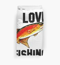 I Love Fishing Yellowstone Cutthroat Trout Rocky Mountains Fish Char Jackie Carpenter Gift Father Dad Husband Wife Best Seller Duvet Cover