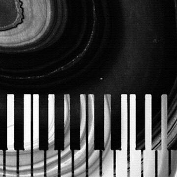 Modern Black and White Piano - Sharon Cummings Artist by SharonCummings
