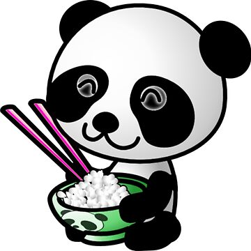 Panda with a Bowl of Rice and Chopsticks by Sapphire-X