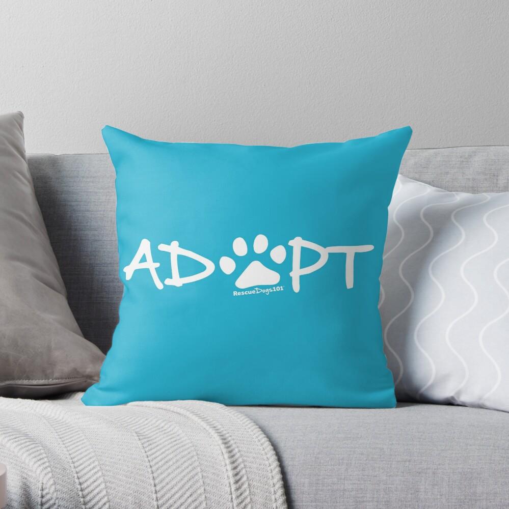 Adopt Dog Paw Print (white print) Throw Pillow