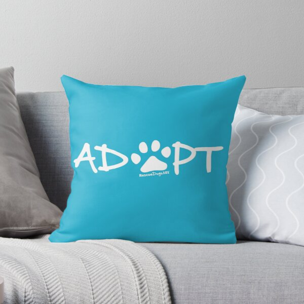 Adopt Dog Paw Print (white print) Throw Pillow