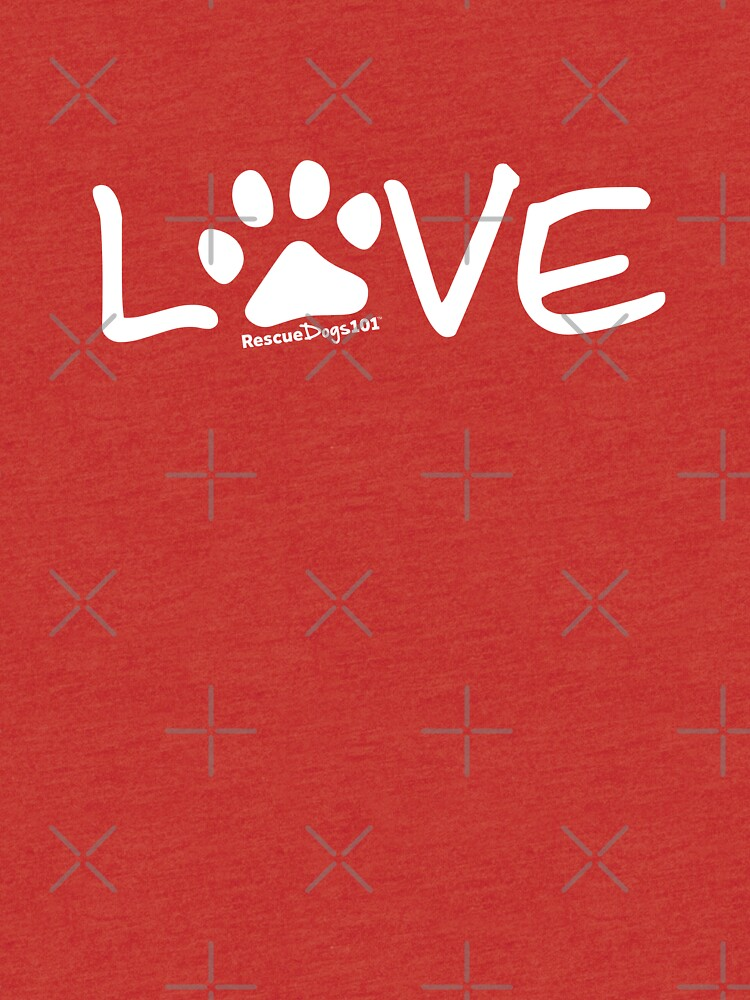 Love Dog Paw Print (white reverse print) by rescuedogs101
