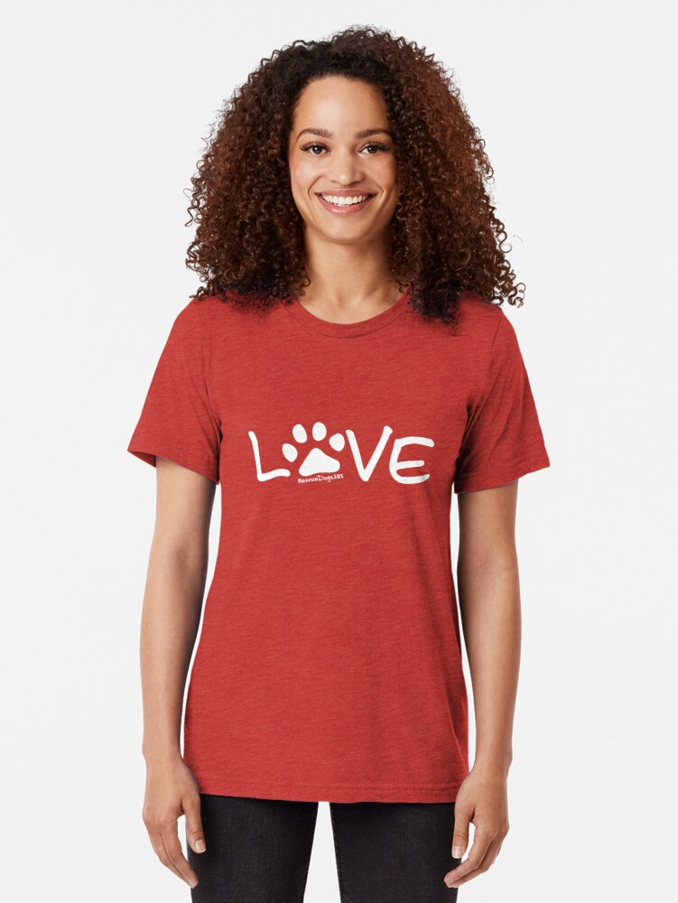 Alternate view of Love Dog Paw Print (white reverse print) Tri-blend T-Shirt