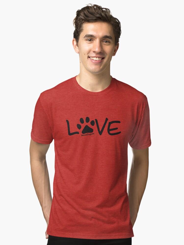 Alternate view of Love Dog Paw Print Tri-blend T-Shirt