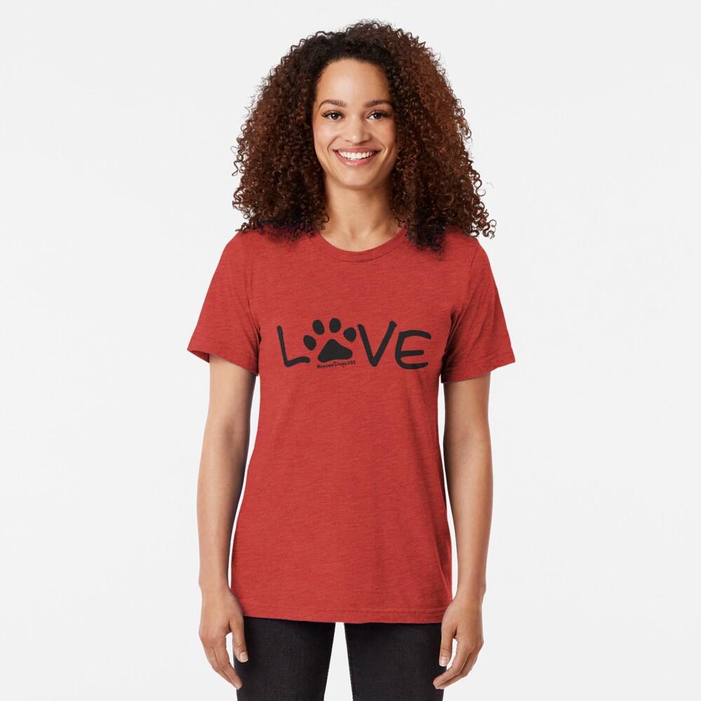 Love Dog Paw Print Tri-blend T-Shirt