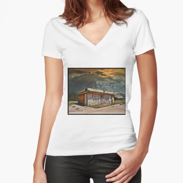 Jackson Mississippi Sky looms over McLean Texas Fitted V-Neck T-Shirt