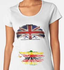 British Grown With Zimbabwean Roots Gift For Zimbabwean From Zimbabwe - Zimbabwe Flag in Roots Women's Premium T-Shirt