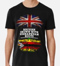 Briten gewachsen mit simbabwischem Wurzel-Geschenk für Simbabwe von Simbabwe - Simbabwe-Flagge in den Wurzeln Männer Premium T-Shirts