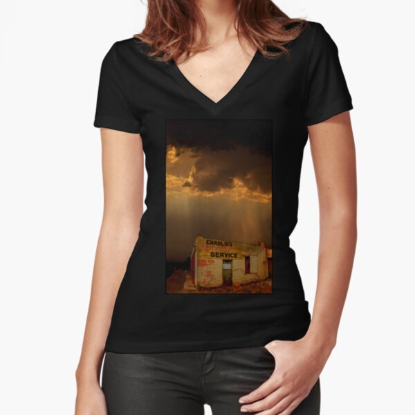 Charlie's Radiator Service, Milan, New Mexico Fitted V-Neck T-Shirt