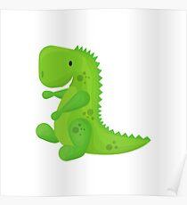 Cute Cartoon Green Dinosaur Poster