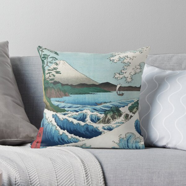 Hiroshige  the Sea off Satta Japan with nature and fishermen by Japanese ukiyo-e artist nature painting HD HIGH QUALITY Throw Pillow
