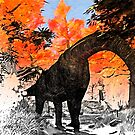 Apatosaurus in the woods by Sam  Knight