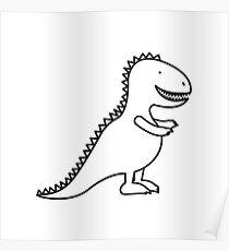 Cute Dinosaur Cartoon Outline Poster