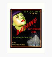 Bathing & the Single Girl Poster  Art Print