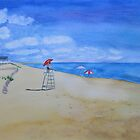 Salisbury Beach Watercolor Painting by Sandra Connelly