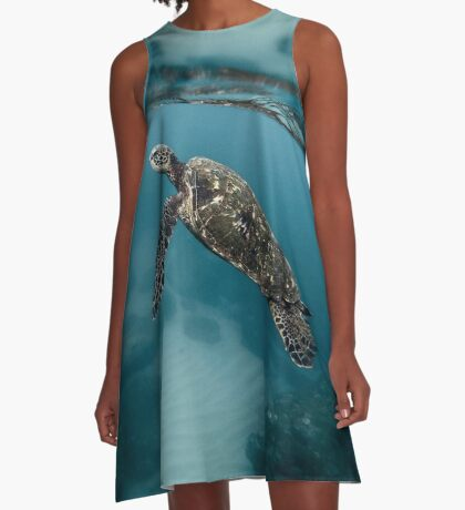 Loggerhead Sea Turtle Shell Marine Habitat A-Line Dress