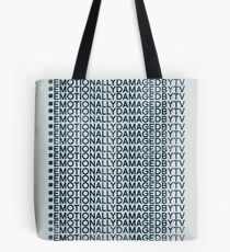 #Emotionally Damaged By TV on Repeat Tote Bag