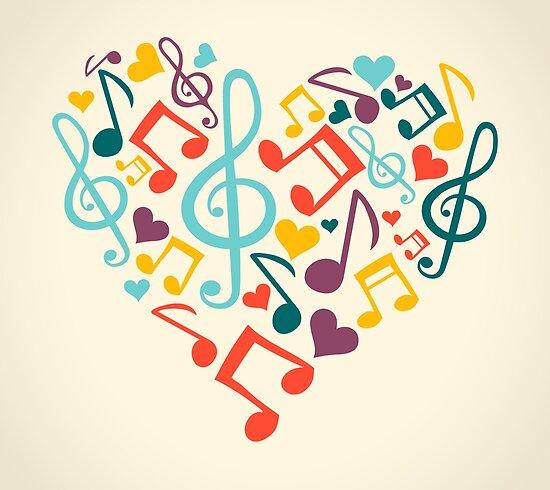 Pósters Notas Musicales En Forma De Corazón De Androidz Redbubble