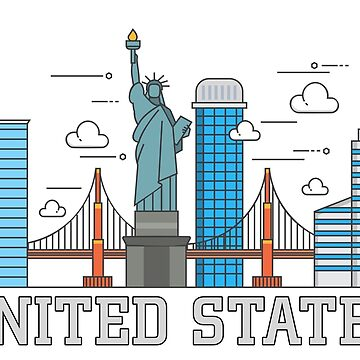 Country Cities Line Art - United States by Skullz23