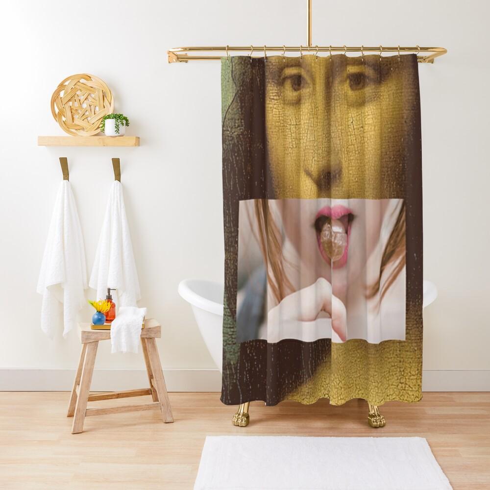 Mona Lisa Lollipop Selfie Pop Culture Print Shower Curtain